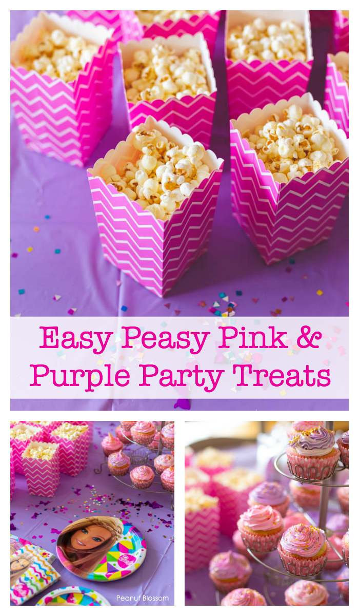 Pink and purple party treats for a Barbie birthday party