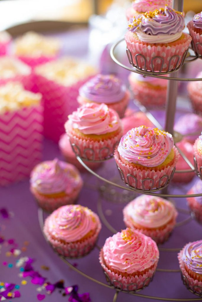 Pink and purple swirled cupcakes for the ultimate Barbie birthday party