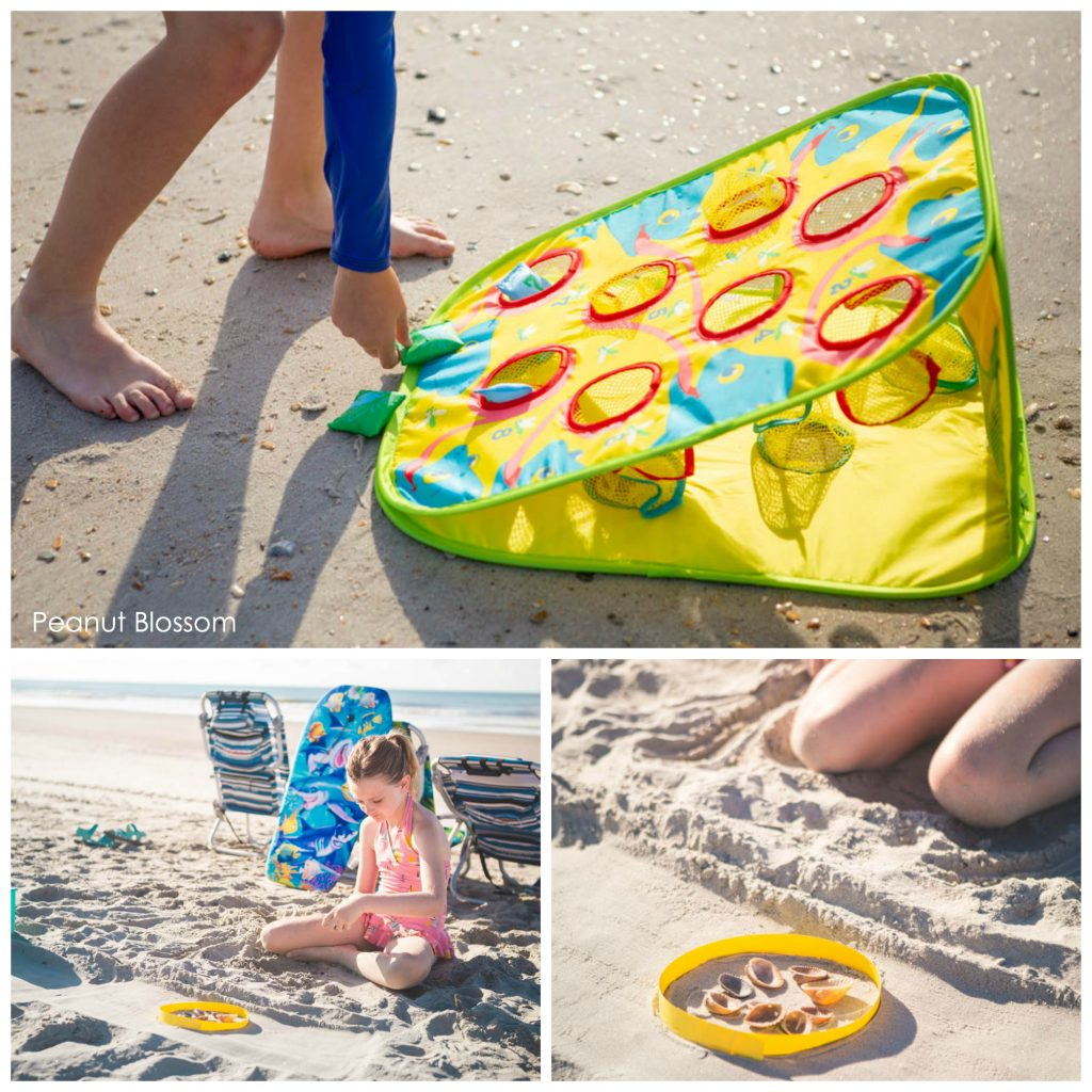 Fun beach travel activities to play with kids: portable bean bag toss and shell collecting.