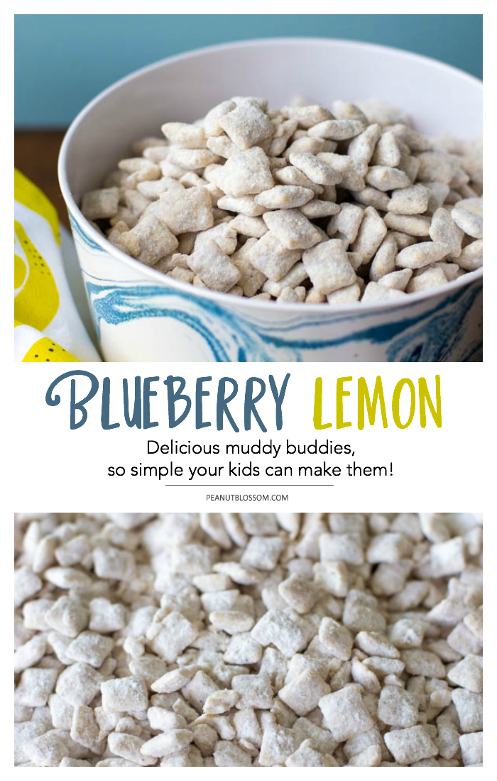 Simple blueberry lemon muddy buddies you can bake with your kids