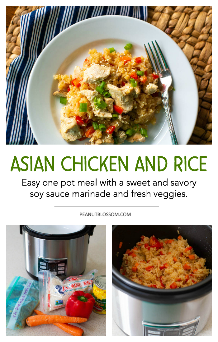 One pot chicken and rice dish with an Asian flair. Sweet and savory soy sauce marinade and fresh veggies make this an easy weeknight dinner.