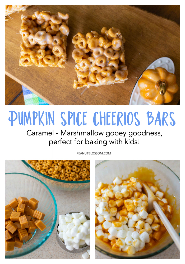 Easy no bake pumpkin spice Cheerios bars made with marshmallows and melted caramel
