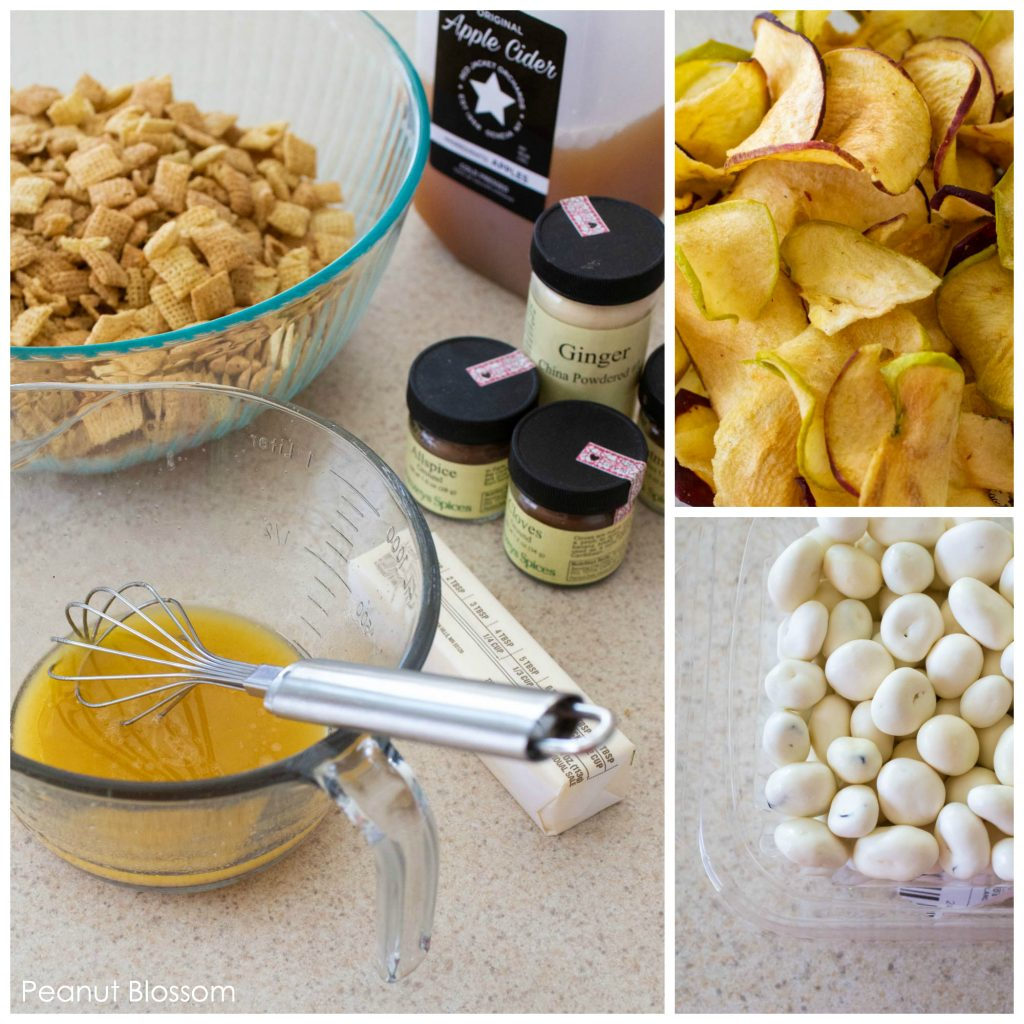 This easy sweet Chex Mix recipe uses butter, pie spices, apple cider, apple chips, and yogurt covered raisins to make a hot apple pie Chex Mix.