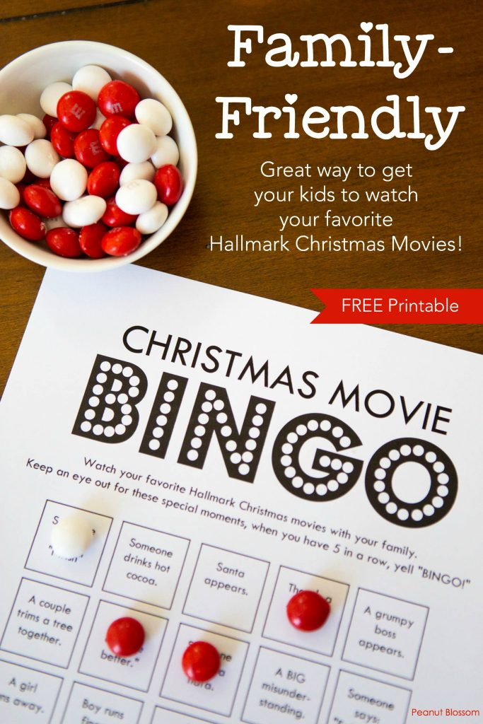 Hallmark Christmas Movie Bingo: A free printable movie-watching game for families
