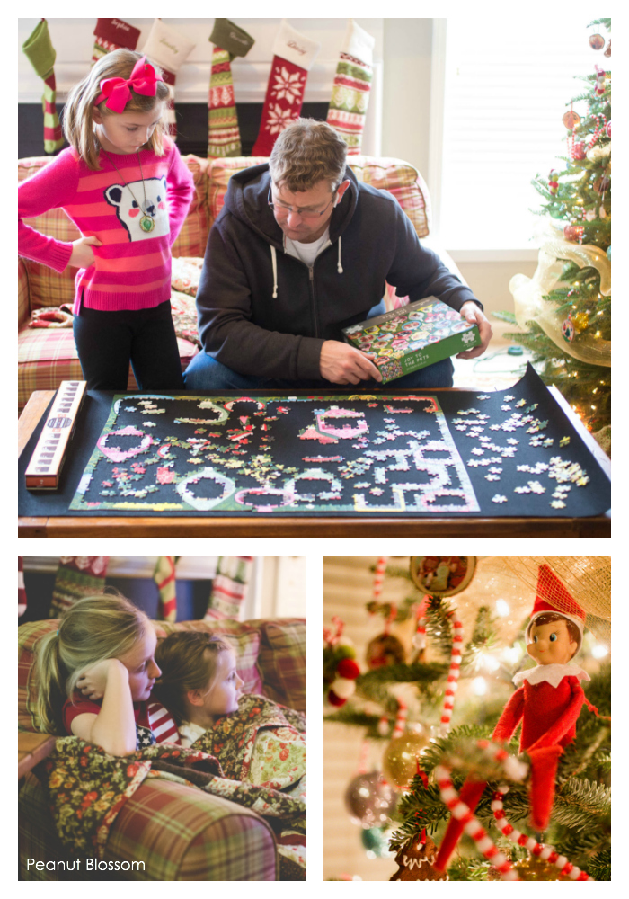 Turn on Hallmark Christmas Movies and assemble a Christmas puzzle. The perfect family fun day.
