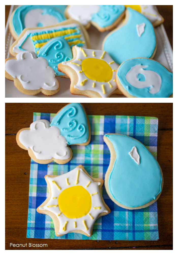 Adorable hurricane cookies: weather-themed sugar cookies for rainy day baking with kids.