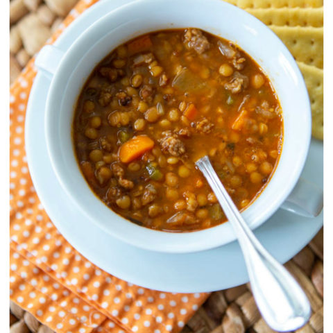 spicy sausage and lentil soup