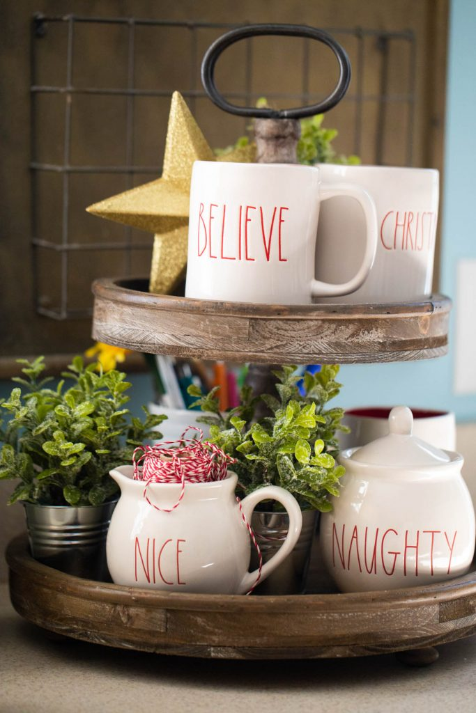 Kitchen organization ideas for cooking in a crowded kitchen: Keep mugs ready to go in a cute organizer