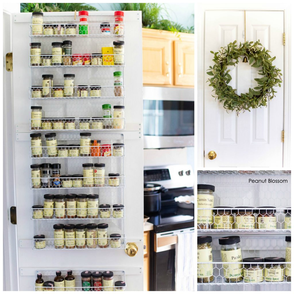 Kitchen organization ideas for cooking in a crowded kitchen: organize your spices in a farmhouse style spice rack