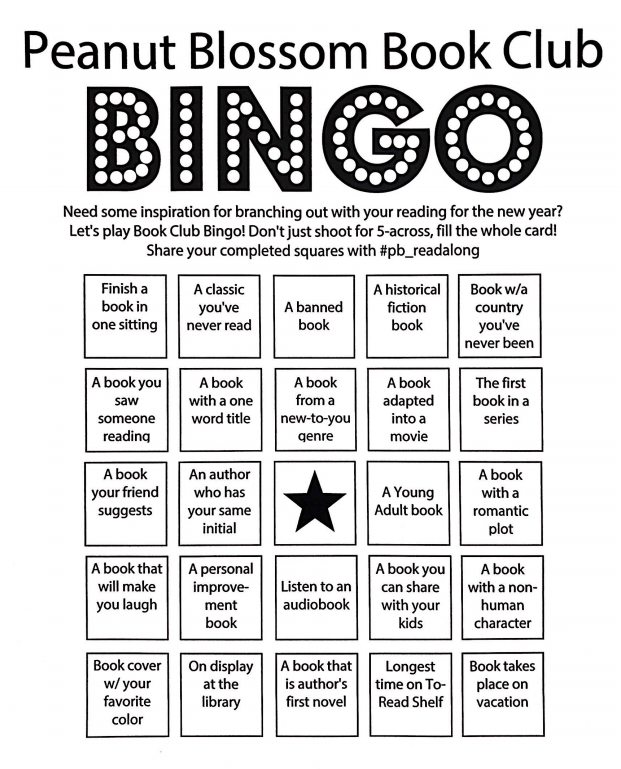 Peanut Blossom Book Club: Book Bingo for adults, a great way to resolve to read more books in the new year