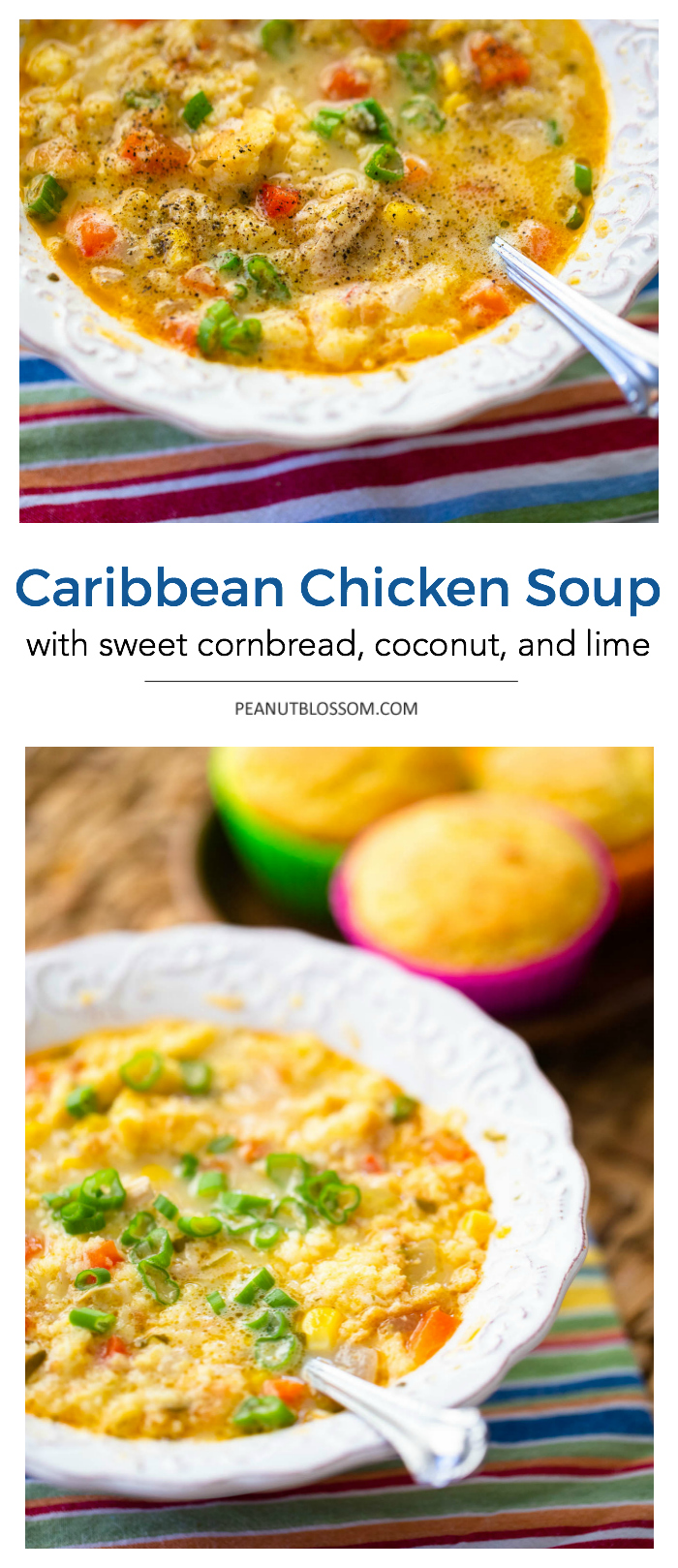 Caribbean chicken soup with sweet cornbread, coconut, and lime juice