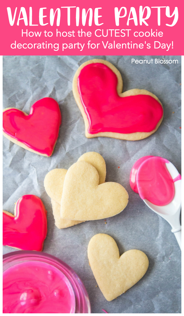 Easy Valentine Party Ideas for hosting the cutest cookie decorating activity for kids.