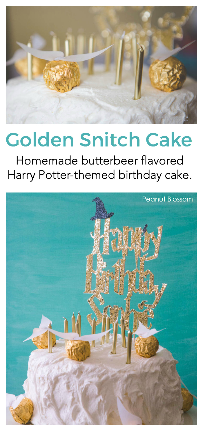 Easy Golden Snitches for a Harry Potter cake. This butterbeer cake with marshmallow frosting is so easy!
