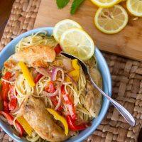chicken scampi with fresh veggies