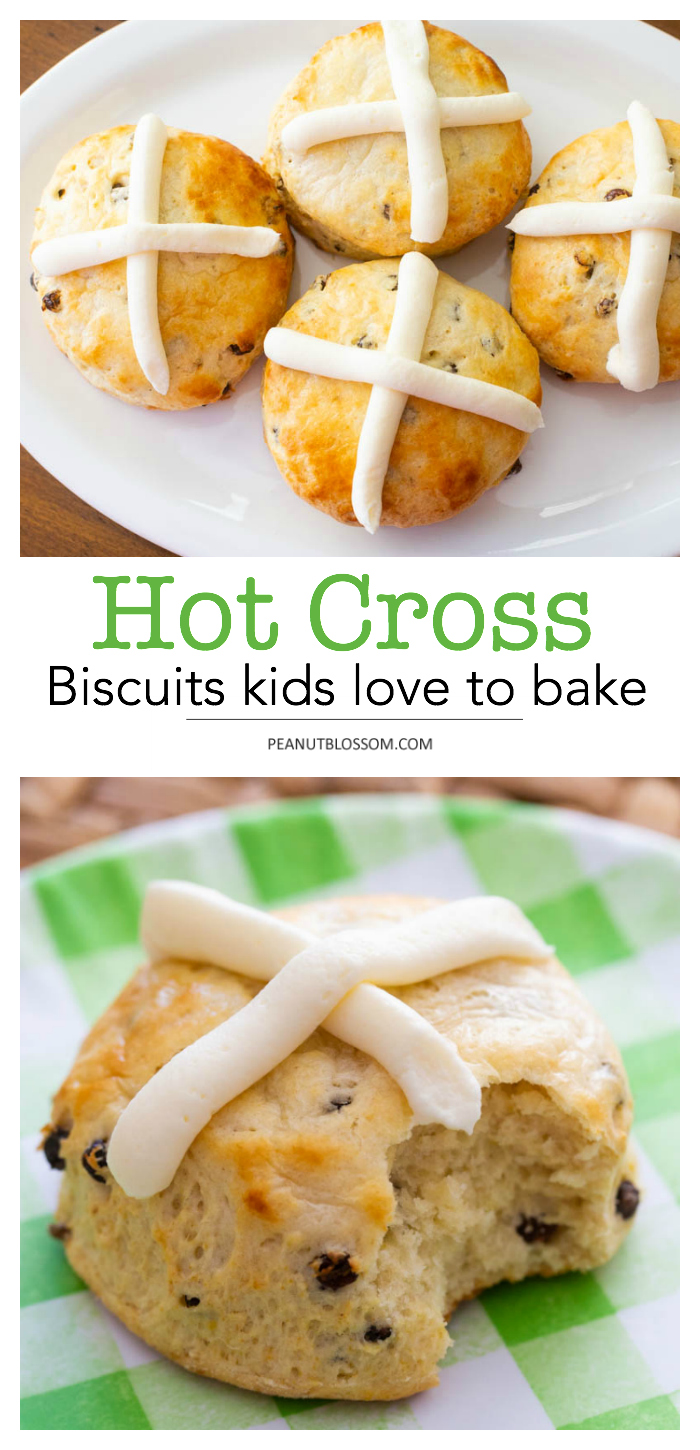 Hot Cross Biscuits, a great recipe for kids to bake for Easter
