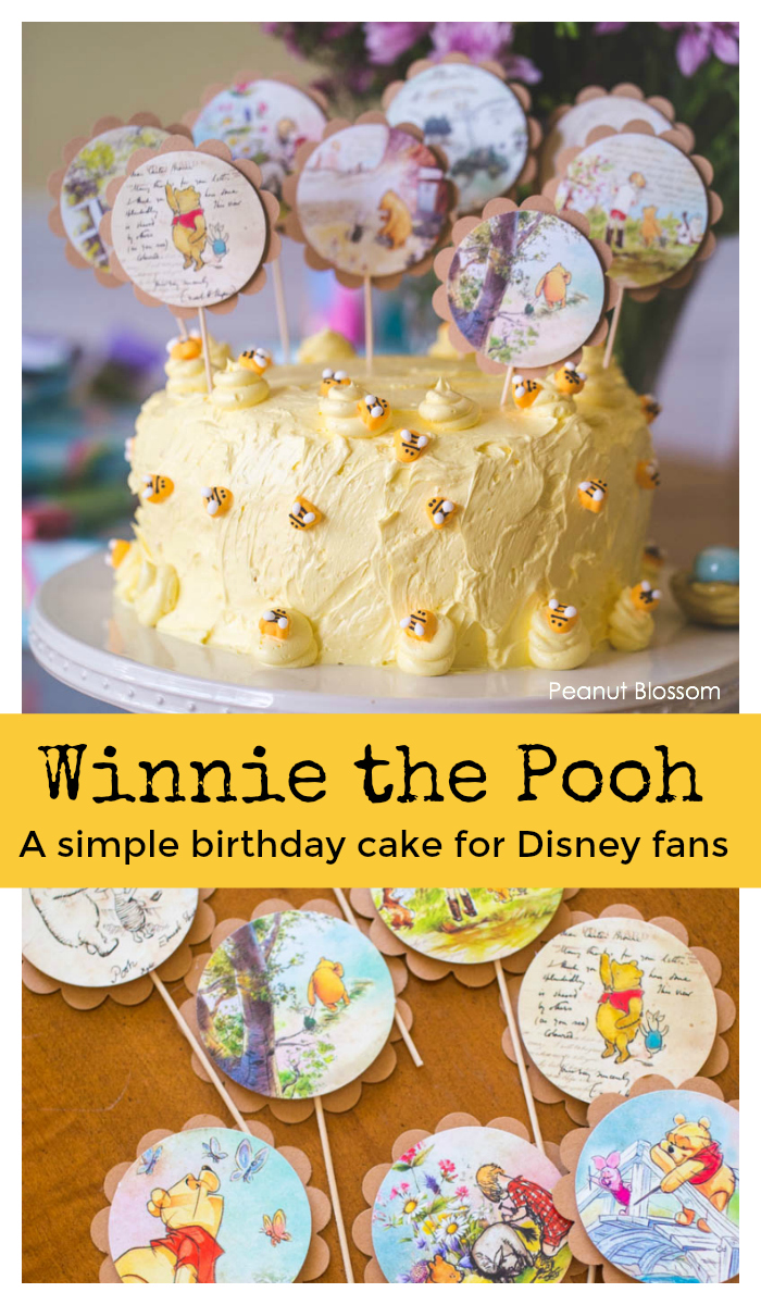Winnie the Pooh cake toppers for an adorable birthday cake for Tweens.