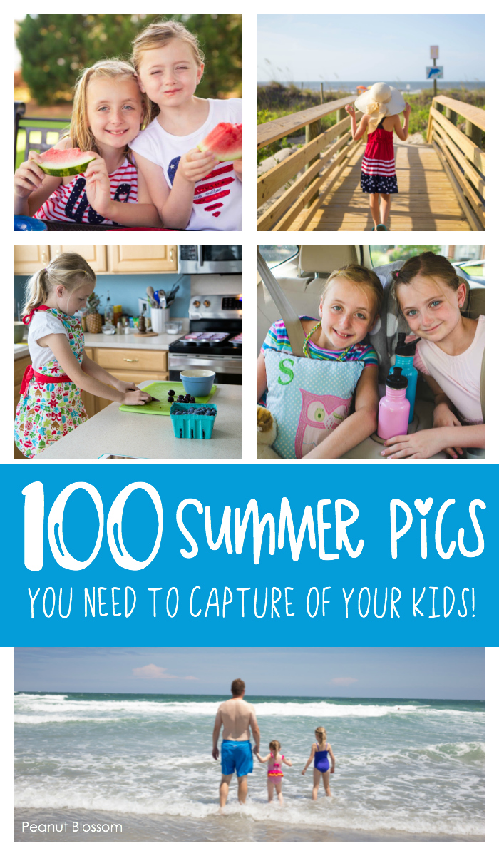 100 summer photos you need to capture of your kids! Join in the Peanut Blossom 100 Days of Summer photo challenge and capture priceless memories of your family this year.
