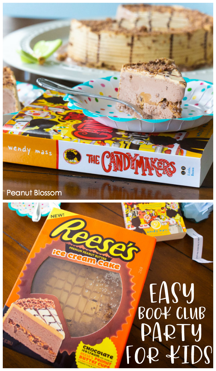 The easiest children's book club party includes a delicious Reese's Ice Cream Cake.