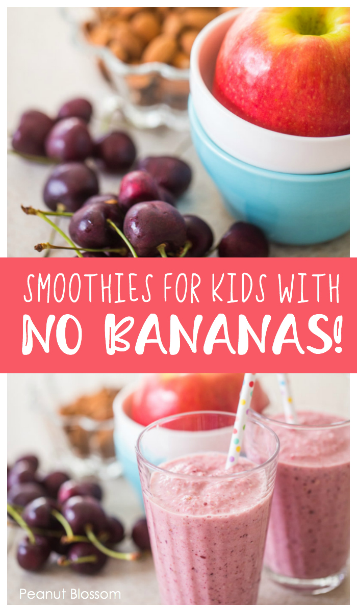 Smoothie recipes for kids who hate bananas! These brilliant smoothies for kids are the perfect busy morning breakfast when they need to stay full all morning long.
