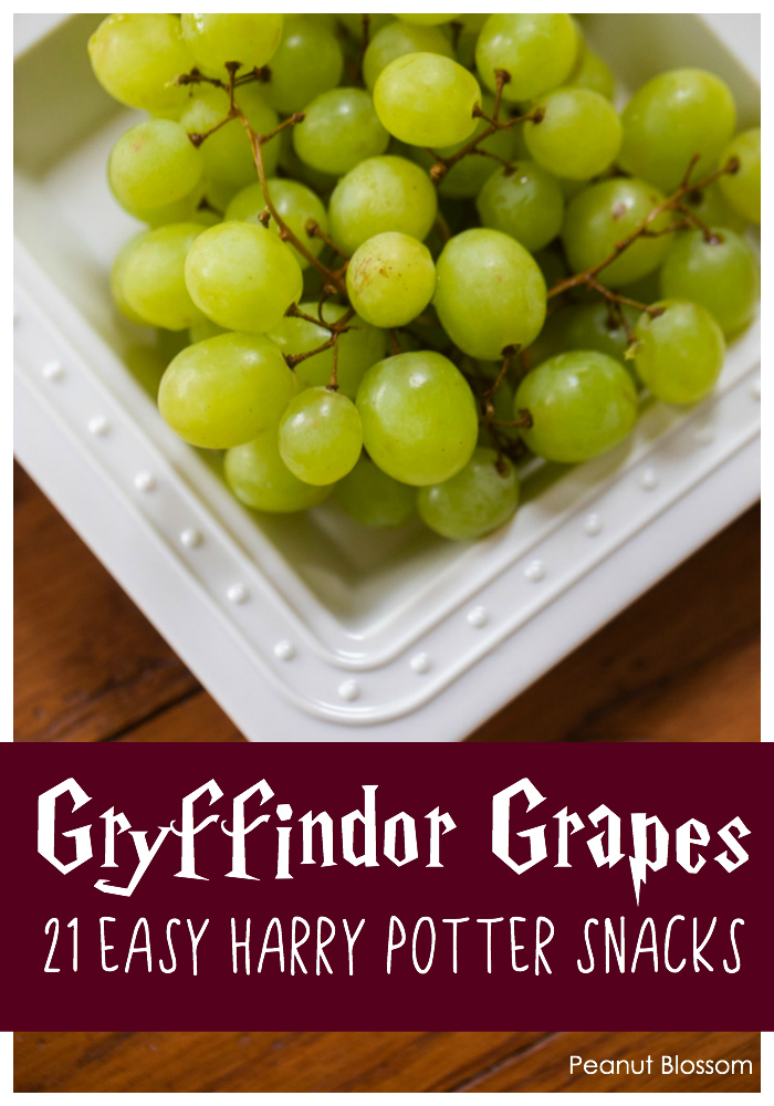 Gryffindor Grapes: 1 of 21 easy Harry Potter Snacks for the ultimate Harry Potter movie night.