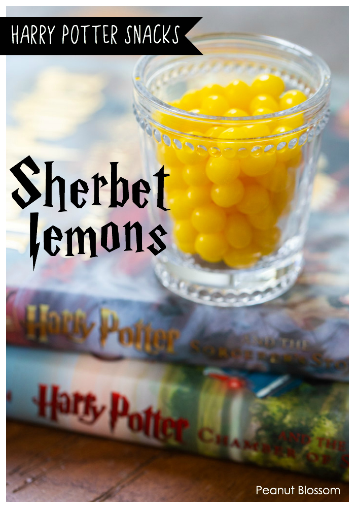 Dumbledore's favorite Sherbet Lemons: a super easy Harry Potter snack idea for movie night.