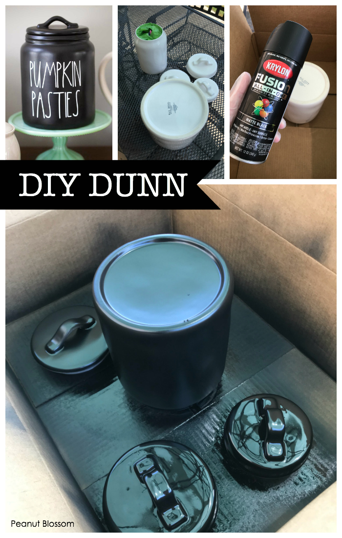 DIY Rae Dunn Halloween: Paint your own pottery black and add adorable Dunn-inspired decals.