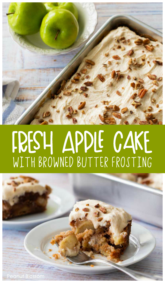 Fresh apple cake with browned butter frosting and pecans is a perfect make-ahead dessert for Thanksgiving.