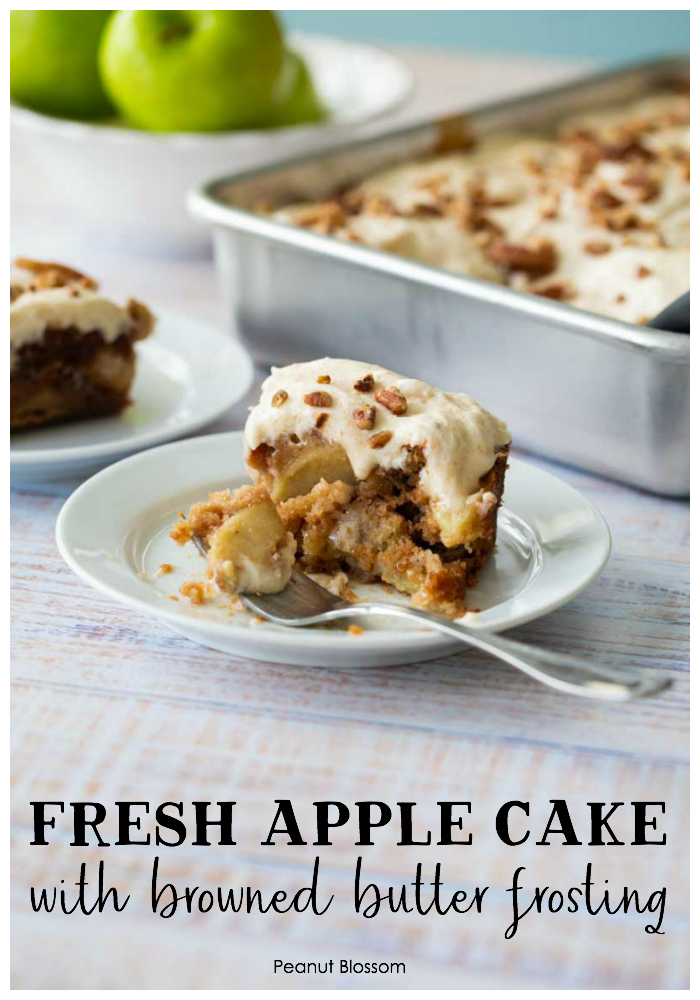Fresh apple cake with browned butter frosting is a great way to use up a huge batch of apples.