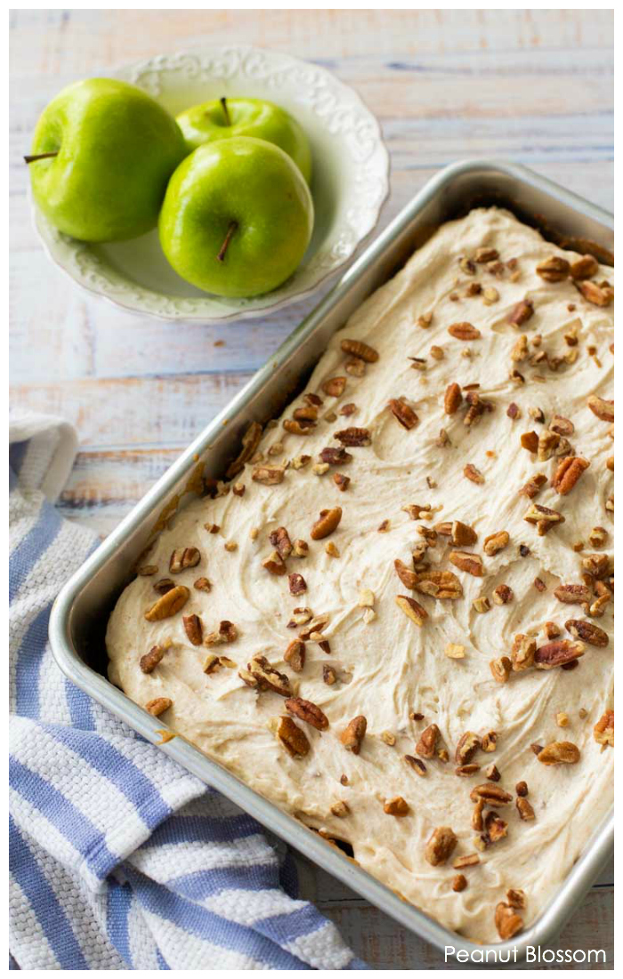 Fresh apple cake recipe with browned butter frosting and chopped pecans is a perfect fall dessert.