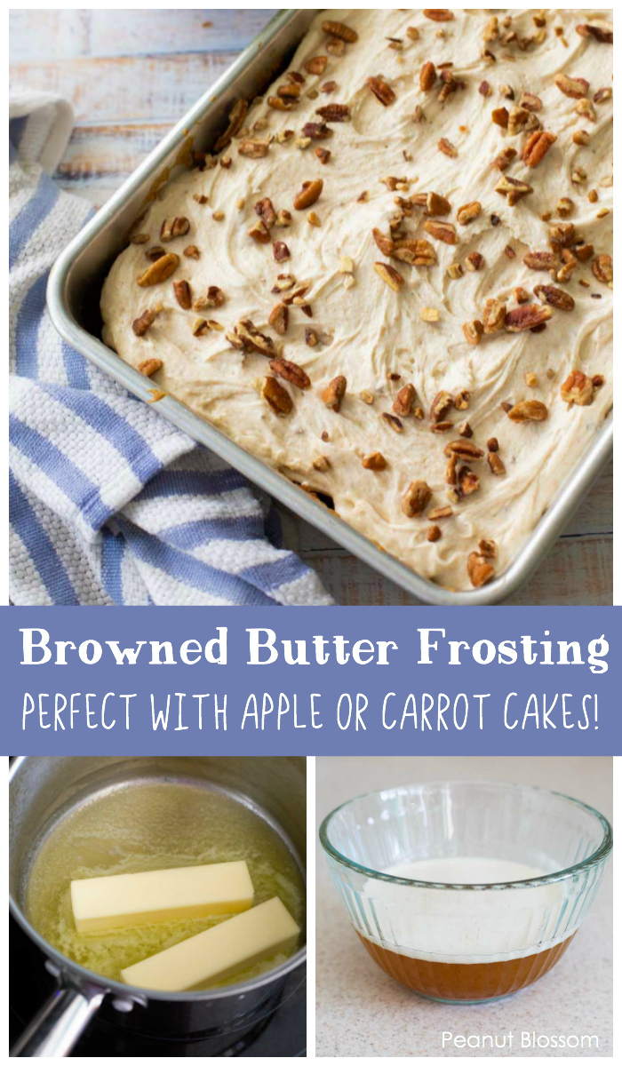 Easy browned butter frosting is the perfect topping for apple cake or carrot cake.
