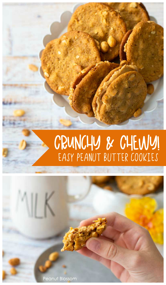 Chewy and crunchy peanut butter cookies are easy to bake with kids.