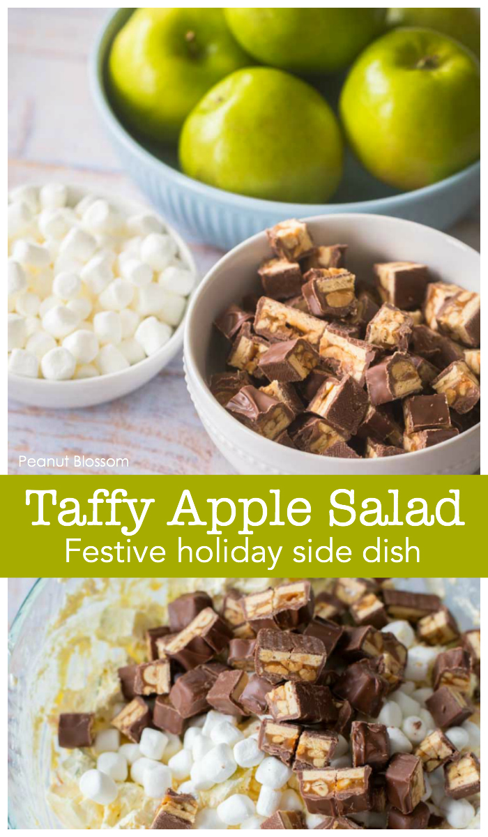 Taffy Apple Salad is a festive holiday side dish for Thanksgiving or Christmas