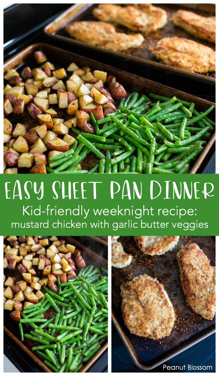 Easy one pan chicken and veggies dinner for busy weeknights! This kid-friendly recipe includes mustard chicken with garlic butter veggies.