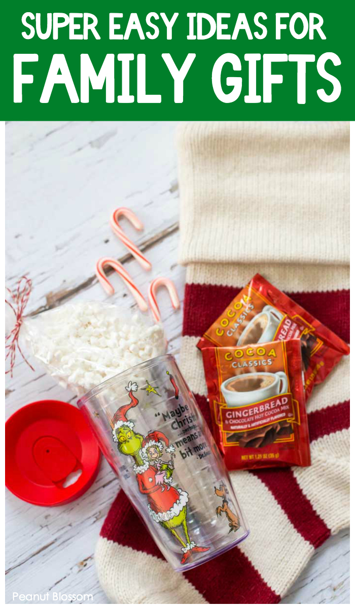 Super easy ideas for family gifts: Give them a hot cocoa kit tucked inside their stocking!