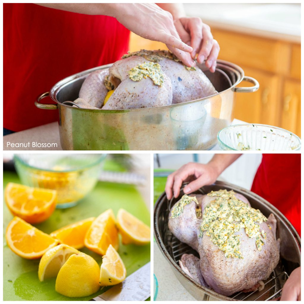 How to pat herb butter on a turkey for a holiday roast.