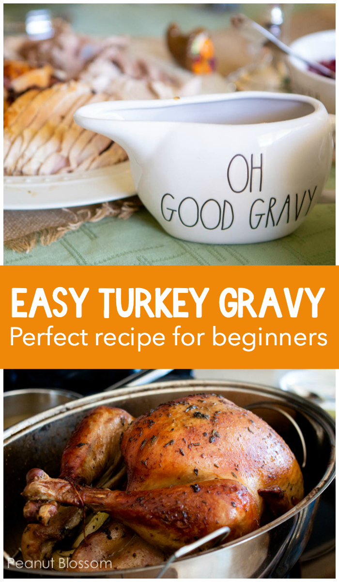 Easy homemade gravy recipe for Thanksgiving uses the drippings from a roast turkey and easy-to-find chicken stock mixed with shallots and white wine. Makes a great portion of gravy for generous serving over all your side dishes!