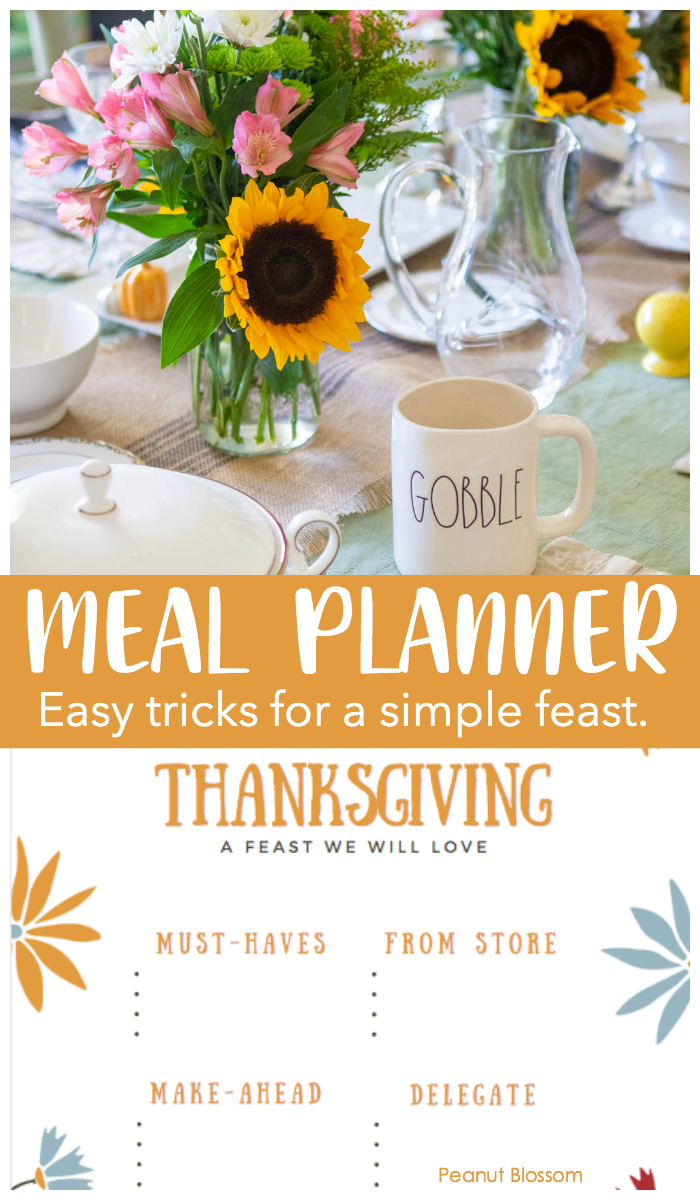 A free printable Thanksgiving meal plan page for an easy Thanksgiving dinner.