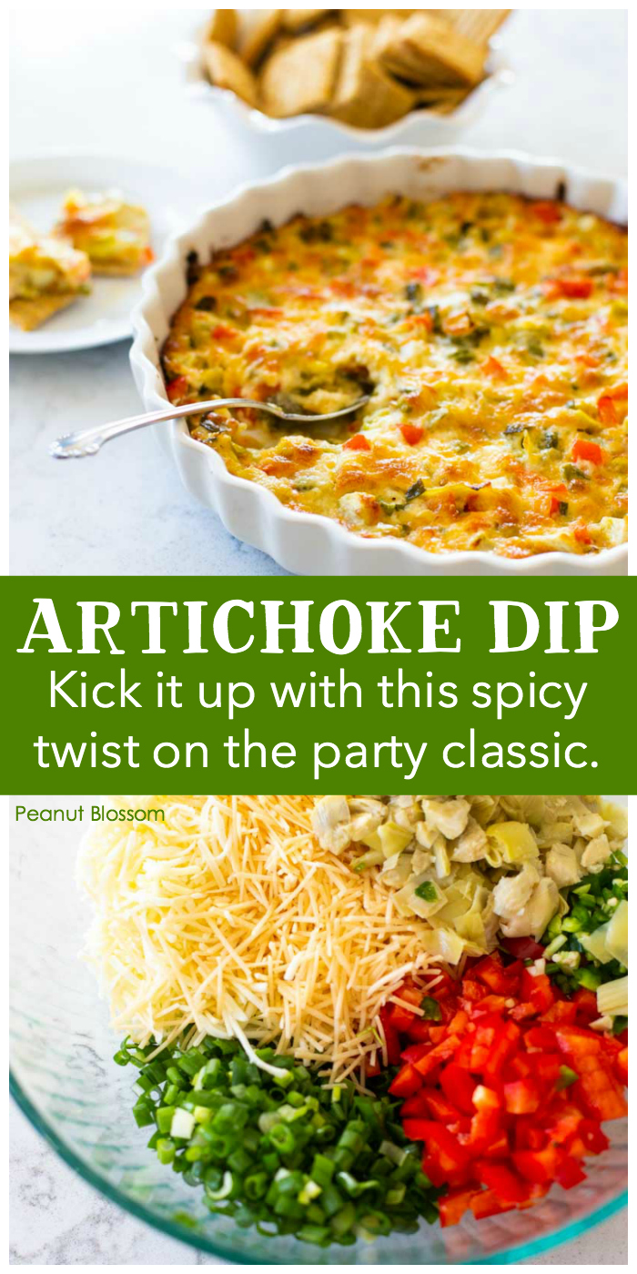 This delicious spicy artichoke dip is the perfect make-ahead appetizer for entertaining. You can assemble the entire dip but then just bake it right before serving for the freshest taste. The spice level can be tweaked to be mild or hot, as you wish.