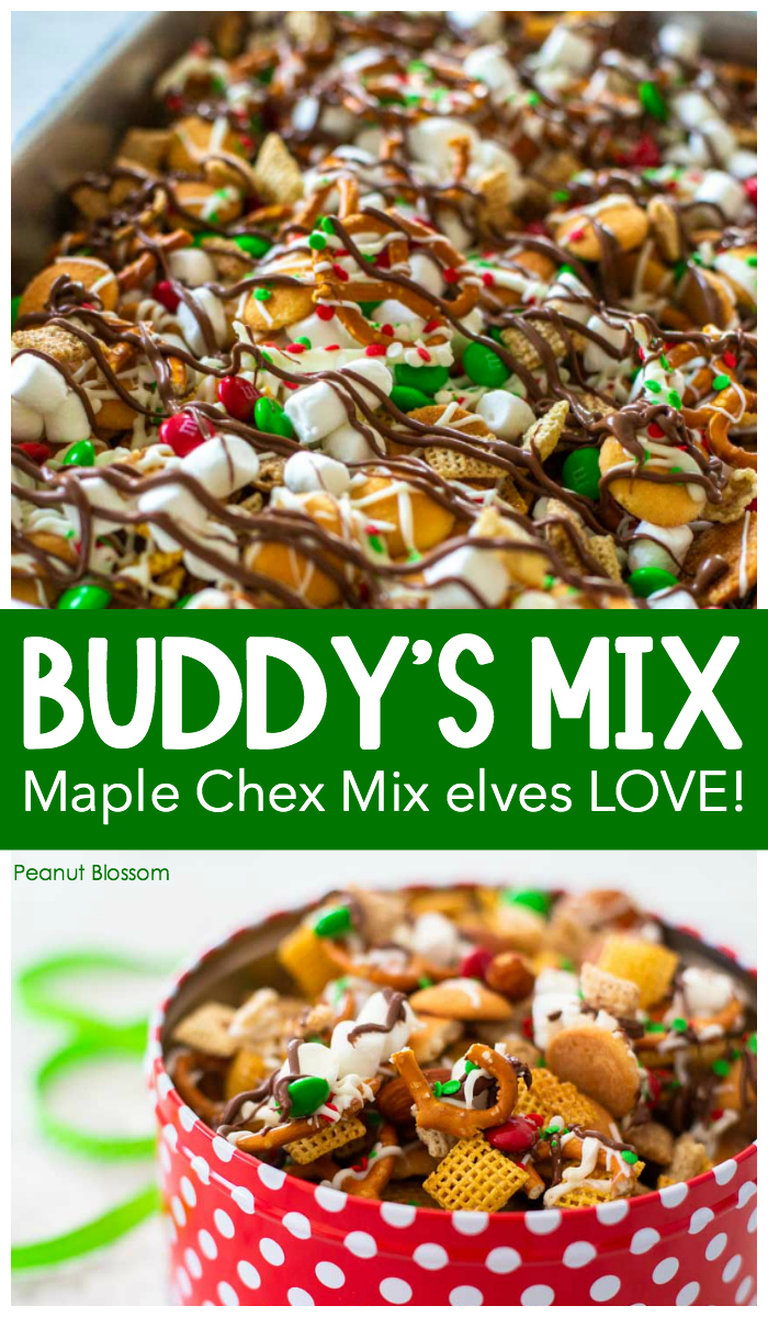 Buddy's Mix: Maple Chex Mix for Christmas that elves LOVE!