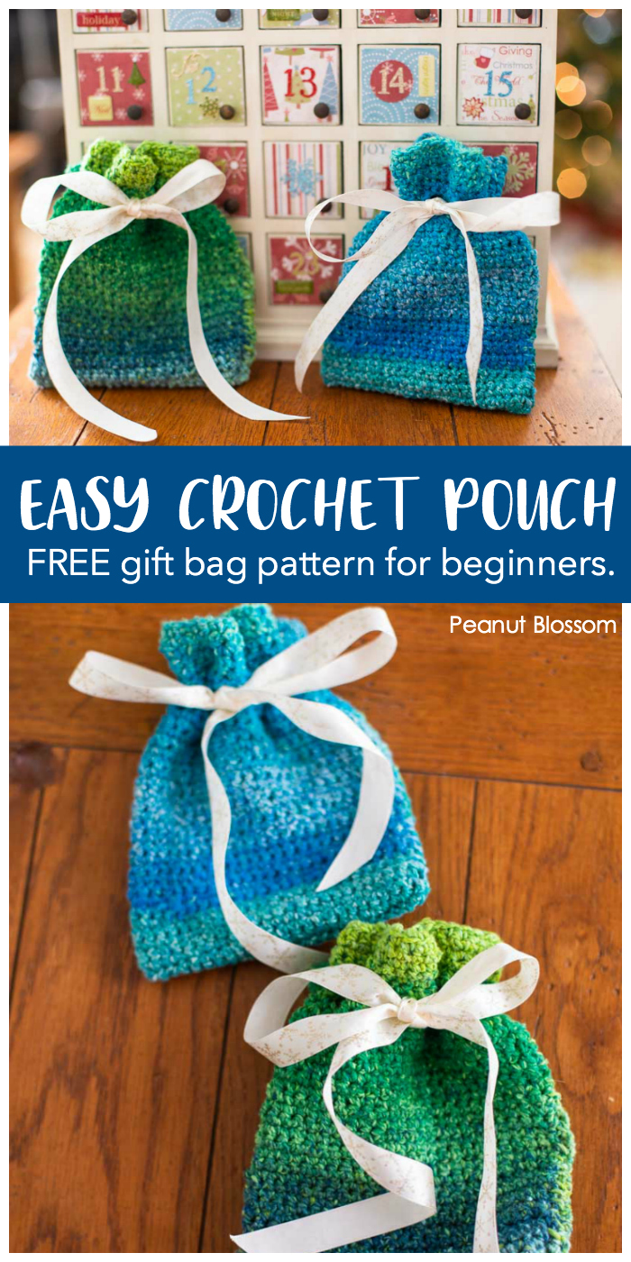 Easy crochet pouch: Free gift bag pattern for beginners. Both a green and blue tie-close crochet pouch are perfect for hiding small gifts.