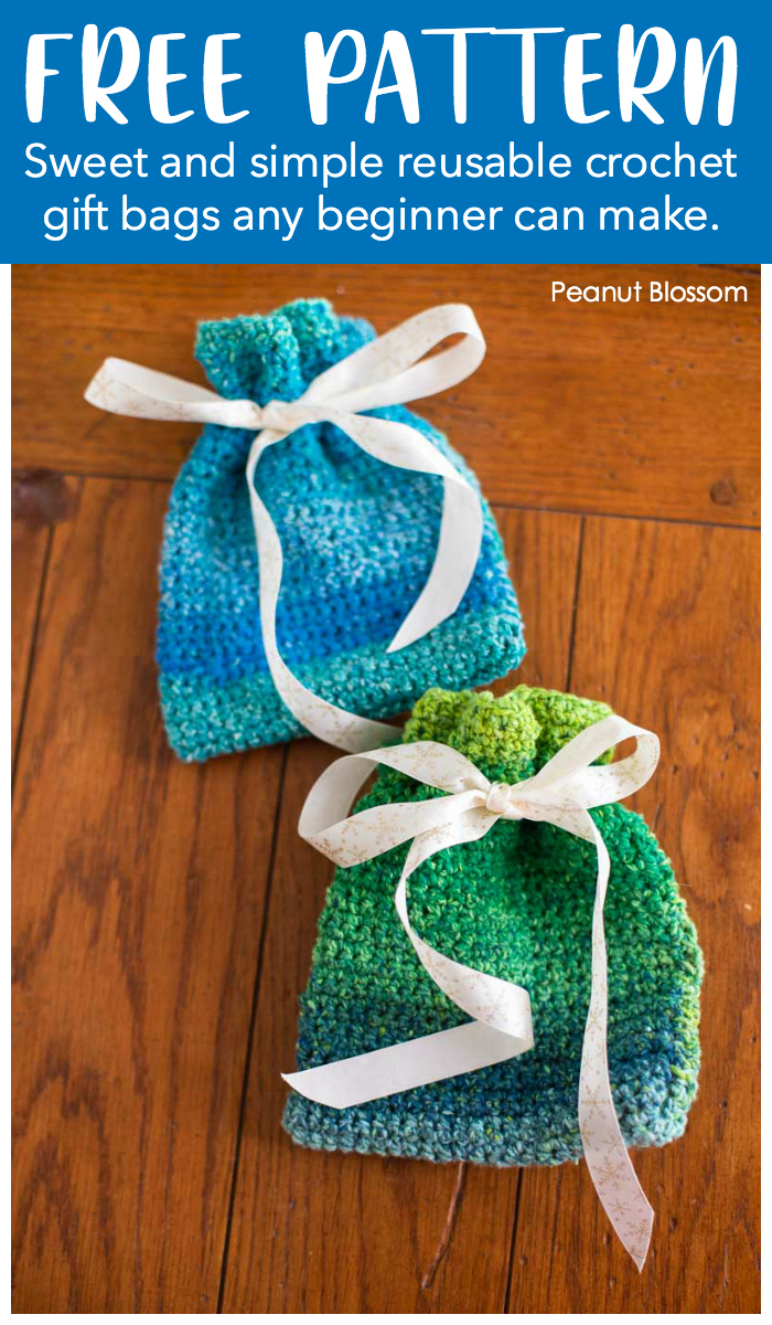 FREE PATTERN: Sweet and simple reusable crochet gift bags and beginner can make. The examples include this adorable blue pouch and a green striped pouch.