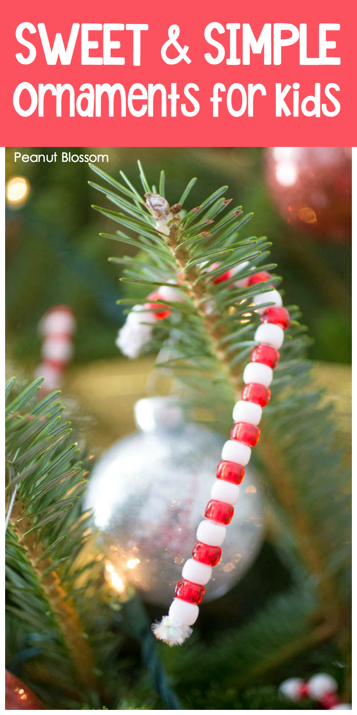 Sweet & Simple homemade ornaments for kids include this beaded candy cane ornament.