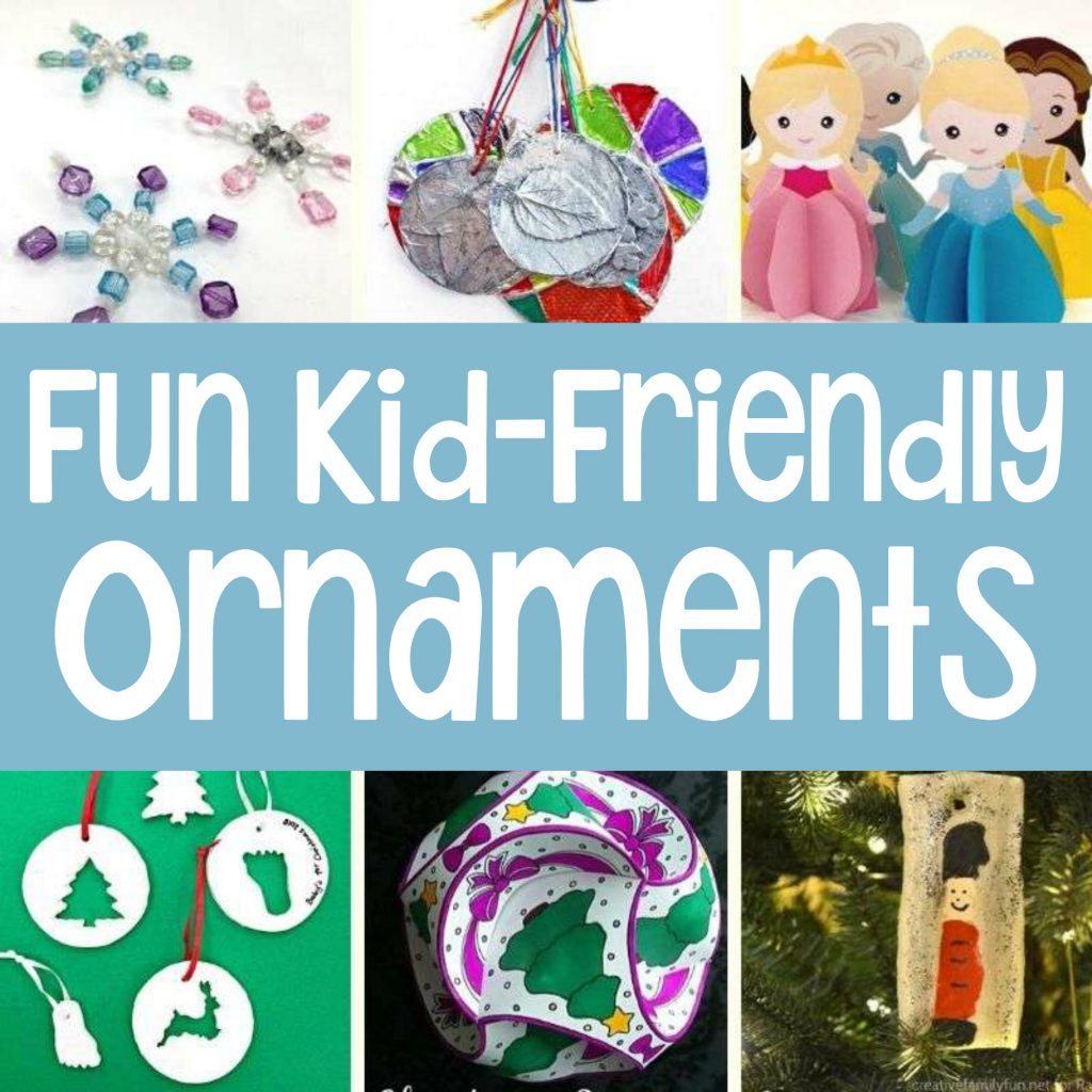 Fun examples of homemade ornaments for kids: beaded snowflakes, paper Disney princess ornaments, fingerprint ornaments, and die-cuts.