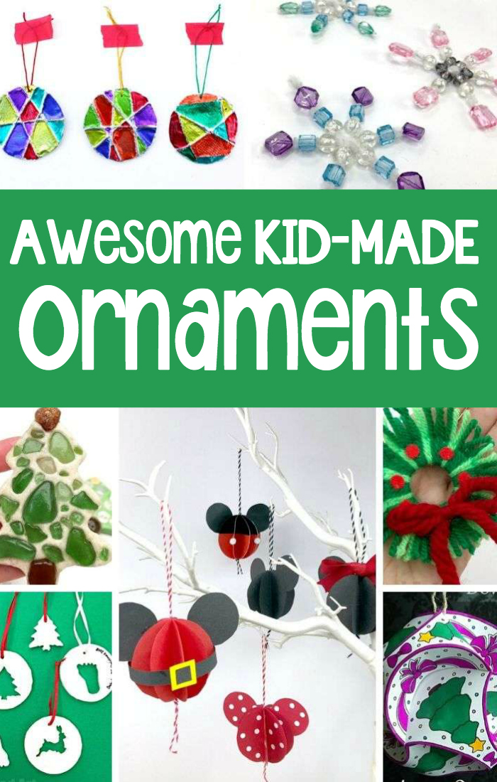 Awesome examples of homemade ornaments for kids to make include foil mandalas, beaded snowflakes, beaded Christmas trees, paper Mickey ear ornaments, and yarn wreath ornaments.