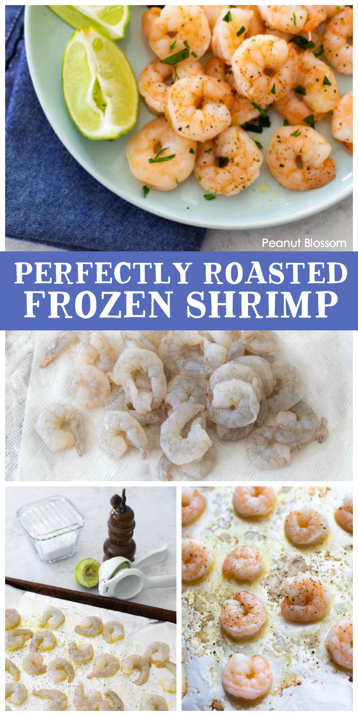 Perfectly roasted frozen shrimp: Step-by-step photo shows how to take the shrimp from frozen, to prepared for the oven, to the pretty plated finished dish.