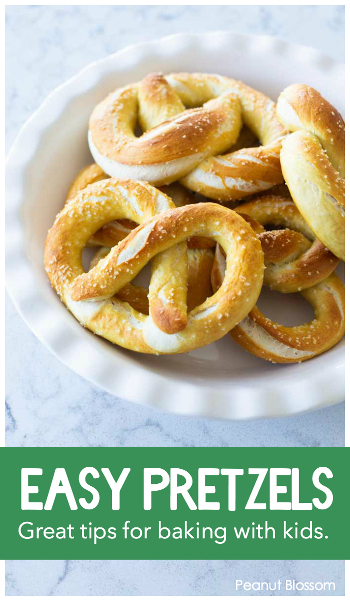 This easy pretzel recipe is perfect for baking with kids. Great tips for how to make pretzels together without the fighting!
