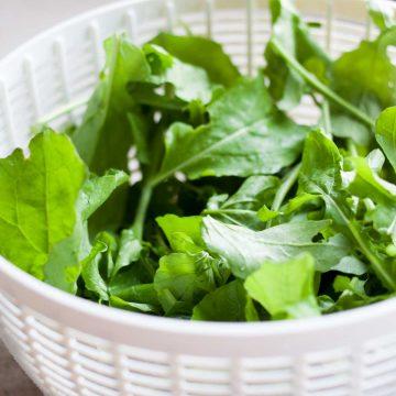 A salad spinner basket holds freshly washed lettuce leaves.