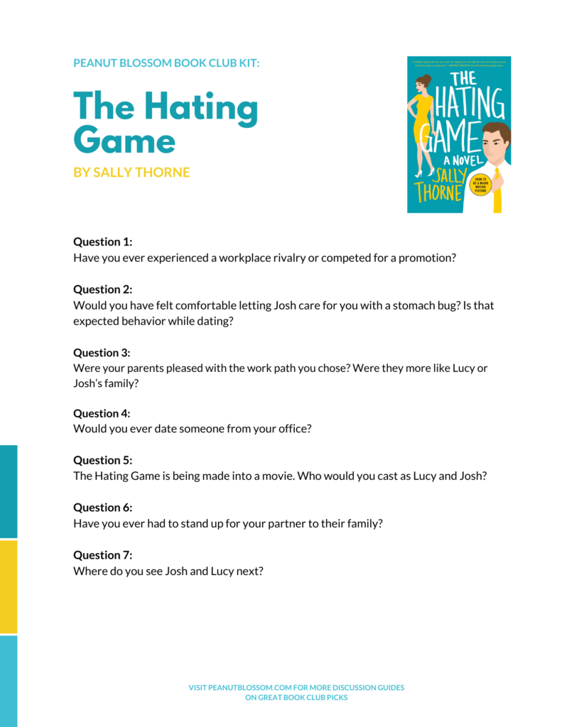 A preview of the printable discussion guide for The Hating Game.