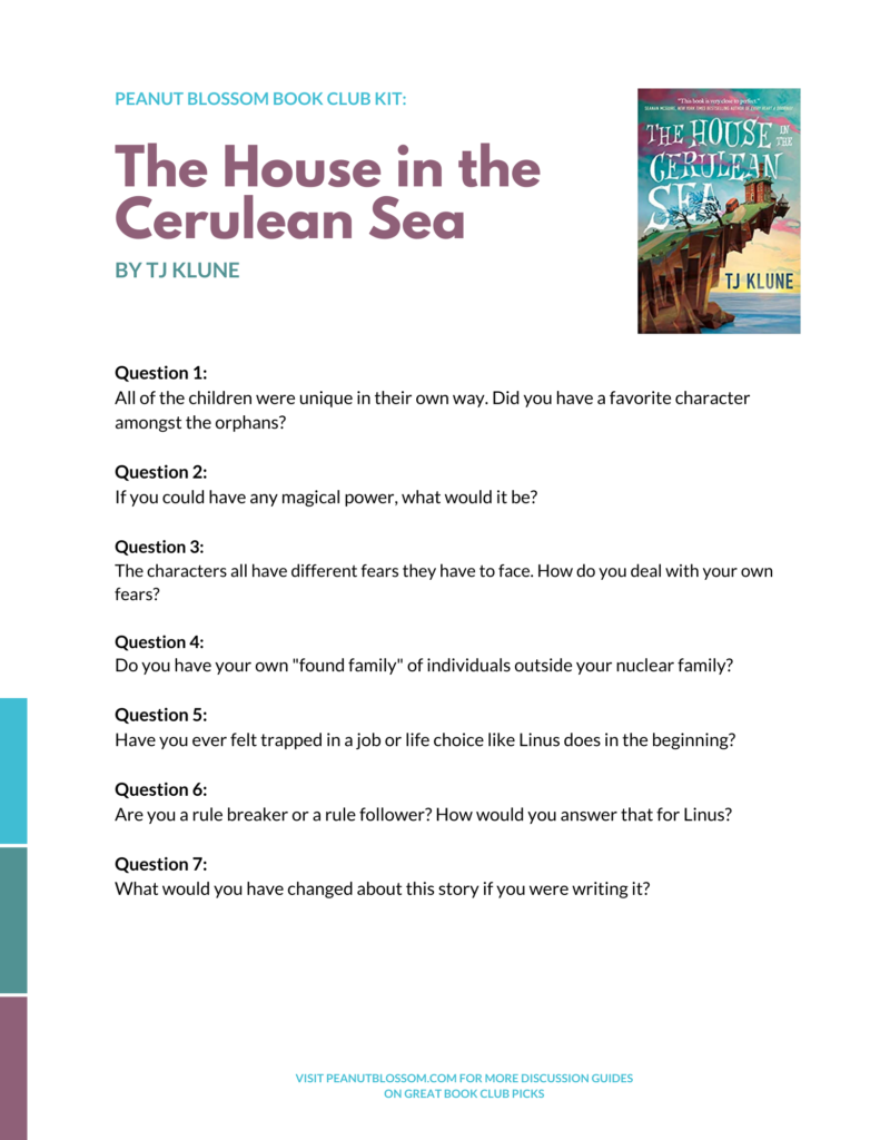 A preview of the printable discussion guide for The House in the Cerulean Sea.