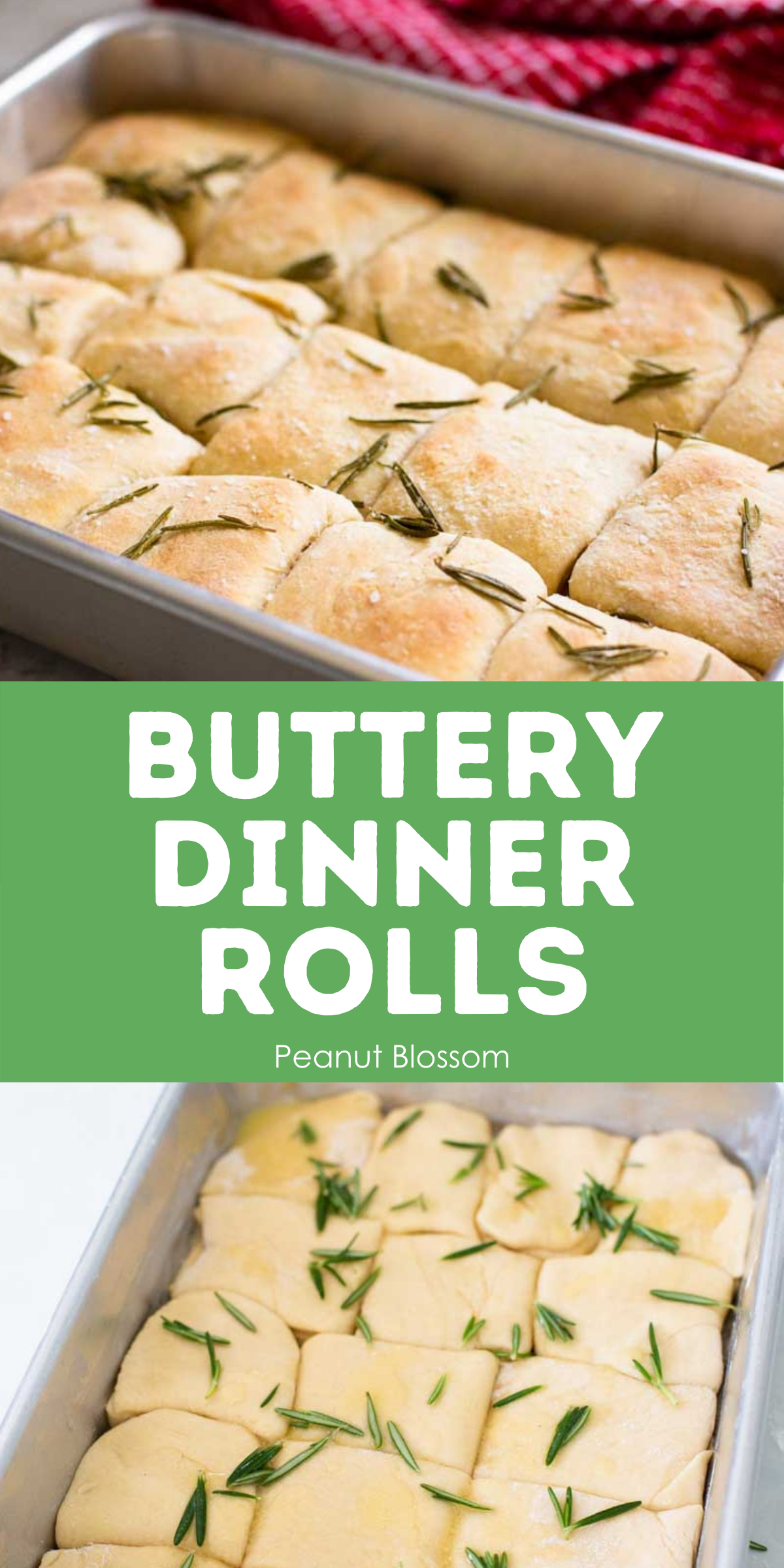 Image shows a pan of unbaked buttery dinner rolls compared to a finished pan to illustrate the difference in color on the top.